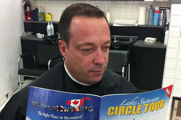Paul Morralee the new NOSTA President enjoying a read with the Lake Superior Circle Tour
