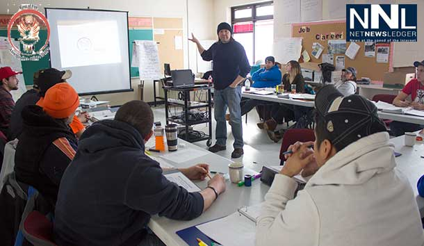 Peter Rasevych, the RoFATA Program Co-ordinator shares with an enthused group of students in Ginoogaming First Nation.