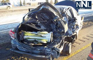 The QEII Integrated Traffic Unit (comprised of RCMP and Alberta Sheriffs) is seeking assistance from the public with regards to a hit and run collision that occurred on the QEII Highway on Friday January 24, 2014. (photo supplied)