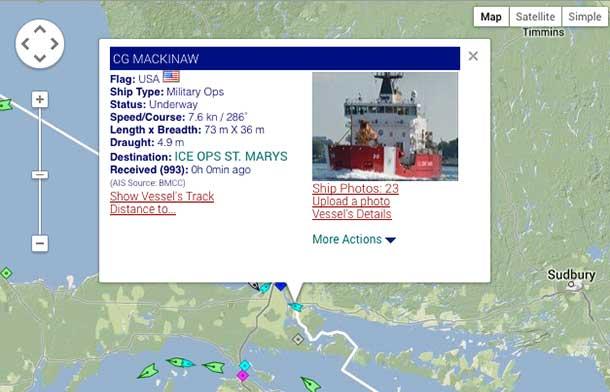 USCG Mackinaw Breaking Ice