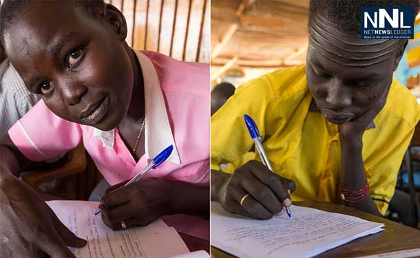 Youth taking their Primary School Leaving Examination (PSLE) in UN bases in Juba, South Sudan. Their exams, scheduled for 16 December, were disrupted by fighting last year. UNMISS/Isaac Alebe Avoro Lu'ba