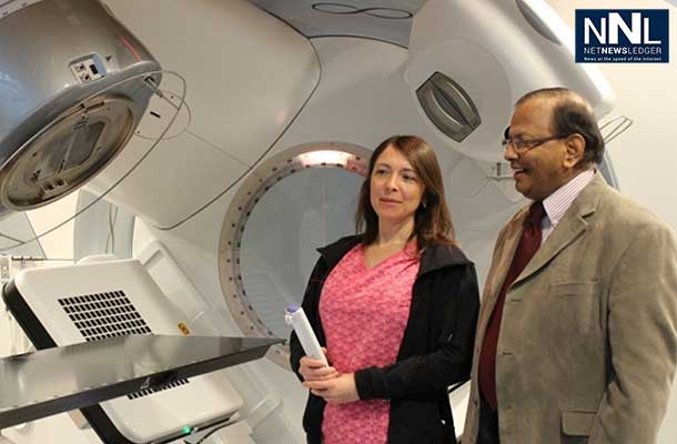 Radiation therapist Susan Sloan and Dr. Sunil Gulavita, Head and Coordinator of Radiation Oncology, Regional Cancer Care Northwest, with one of the world's most advanced Linear Accelerators, installed in the past year to provide exceptional radiation therapy for patients in Northwestern Ontario.