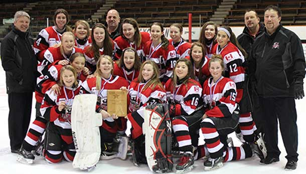 Manshield Construction bantam A Queens after winning the Star of the North tournament Sunday in Grand Rapids, Minn. PHOTO CREDIT: Donna Stubbs