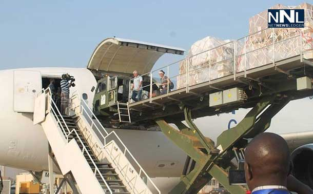 The first of two UNICEF-chartered planes arrive in Juba, South Sudan, loaded with supplies for women and children. Photo: UNMISS/Tina Turyagenda