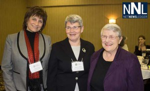 Thunder Bay Councillors Lynda Rydholm and Rebecca Johnson with Lyn McLeod at Women in Politics event in Thunder Bay