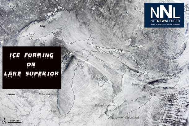 MODIS / NASA image showing the Great Lakes and the impact of the Arctic Vortex forming fog over the lakes.