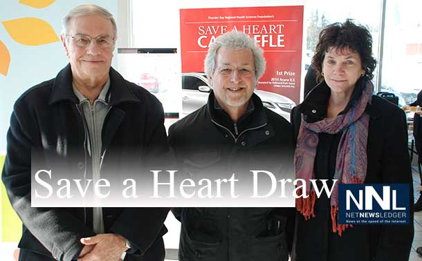The 2014 Balmoral Park Acura Save a Heart Car Raffle winners, pictured from left to right are: Ed Kauzlarich, third prize winner of a Samsung Home Entertainment Package, donated by The Power Centre; Ted Kolisnyk, grand prize winner of a 2014 Acura ILX, donated by Balmoral Park Acura; and Linda Bell, second prize winner of the 2 return trips to any Porter Airlines scheduled destination, donated by Porter Airlines. This year's raffle raised $41,270.07 for the Northern Cardiac Fund to ensure patients have world-class cardiac care close to home.