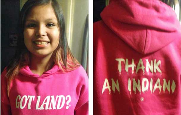 "Tenelle Starr Idle No More and Indigenous teen who wore ""Got Land? Thank an Indian"" shirt call on people everywhere to wear it as act of truth-telling protest"