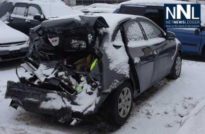 Thunder Bay Police image of car hit in accident.