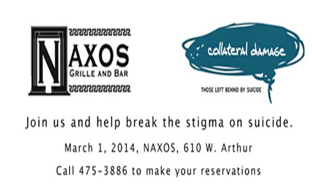 """On March 1, Naxos Grill and Bar will host """"Get Talking"""", an exciting fundraiser in support of the Collateral Damage Project. Everyone is invited to enjoy an evening of music, comedy and prizes, while raising awareness of the importance of talking about suicide and its prevention—because """"not talking about it isn't working""""!"""