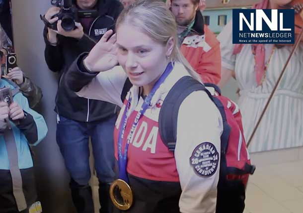 Haley Irwin arrives back in Thunder Bay with the Gold Medal in Women's Hockey from Sochi Russia