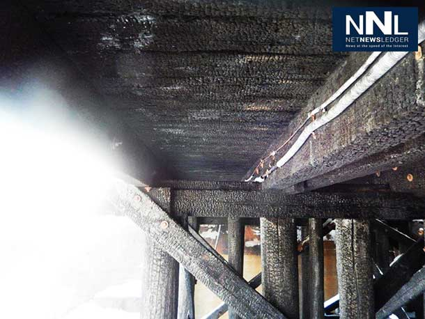 Underside of the James Street Bridge that CN Rail is running freight trains over after an October 2013 fire.