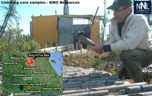 Checking core samples at KWG camp in Ring of Fire