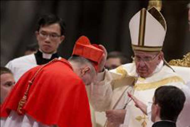 Pope Francis installed 19 new Cardinals in a ceremony in the Vatican.
