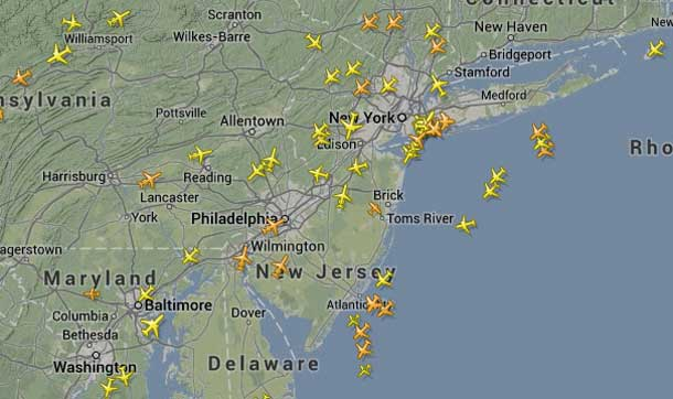 Skies over New York and Boston are usually full of aircraft. Today skies are far quieter.