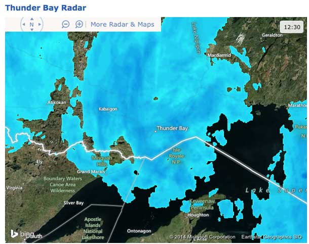 """Radar Image at 12""""30PM Feb 21 2014 shows Thunder Bay is not over the storm yet."""