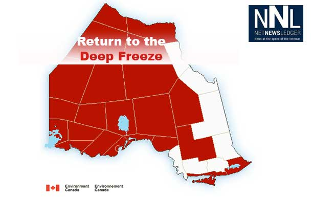 Northern Ontario and Northern Minnesota are headed back into the deep freeze