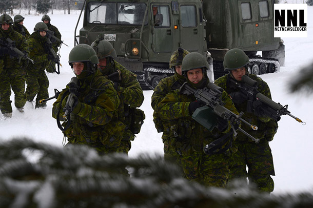 Nearly 2,500 soldiers from Valcartier take part in Exercise RAFALE BLANCHE (RB) from January 28 to February 5, 2014. Exercise RB consists of 11 units conducting combat operations in winter conditions in the Chaudière-Appalaches region, South of Québec City. Practicing in less familiar places than the training areas of 2nd Canadian Division Support Base, Valcartier, helps maintain a high level of flexibility needed to cope with a variety of operational situations and environments. U.S. Navy photo by Mass Communication Specialist 1st Class Peter D. Blair