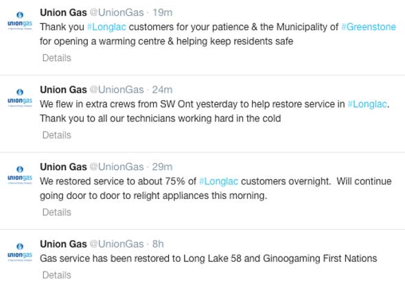 Crews are finishing up the restoration of Natural Gas to the Longlac customers.