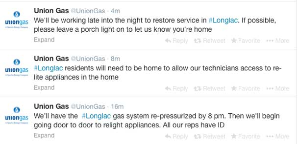 Union Gas in Longlac is tweeting updates to residents.