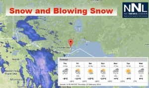 10-15 cm of snow are in the forecast for Thunder Bay over the next 36 hours.