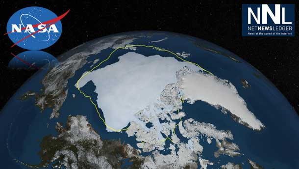 NASA image of the north showing the ice coverage