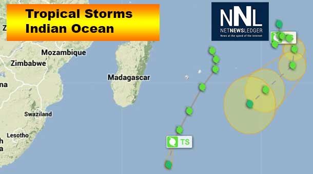 Tropical Cyclones in Indian Ocean off coast of Africa and Madagascar.