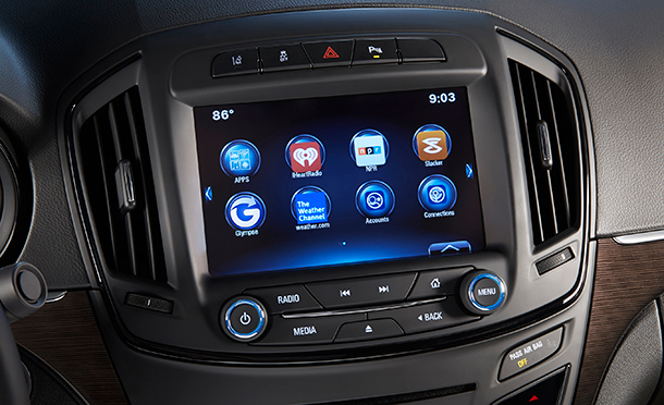 Buick AppShop is accessible through Buick IntelliLink on most 2015 MY Buick vehicles, and provides drivers with customizable information apps like NPR.