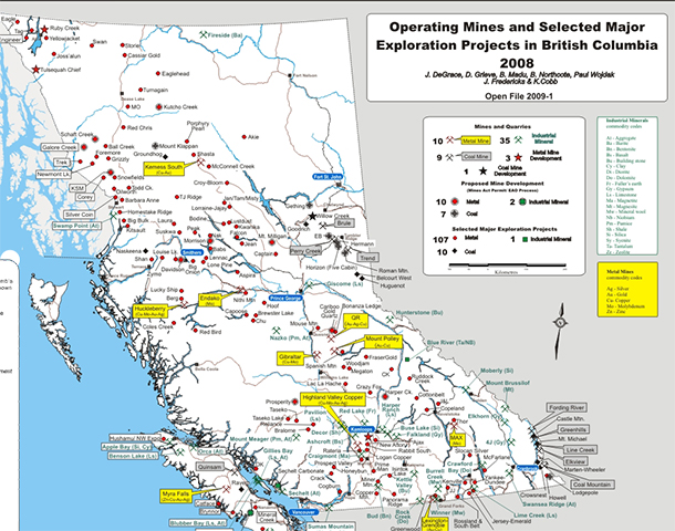 British Columbia mining map showing mineral deposits.