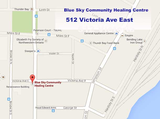 Map to the Blue Sky Traditional Healing Centre