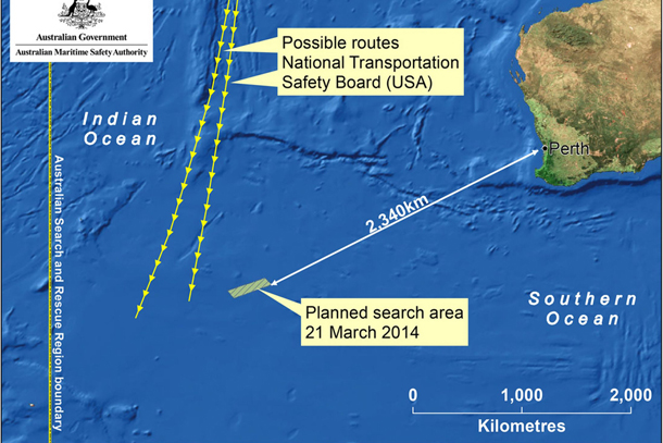 Australian Government Handout of Search Area Map for March 21 Search area