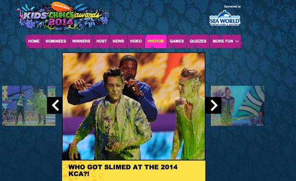 Screen Capture of Mark Walburg getting slimed at awards show