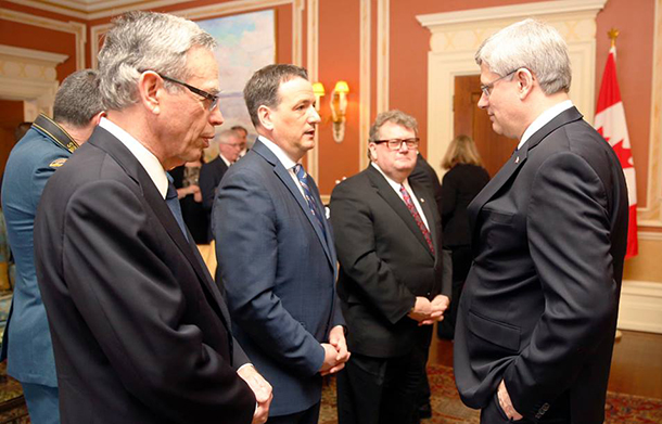 Minister Rickford with Prime Minister Harper at Rideau Hall as new Minister of Natural Resources