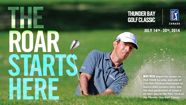 The Thunder Bay stop on the PGA Tour Canada will be in July 2014 at the White Water Golf and Country Club.
