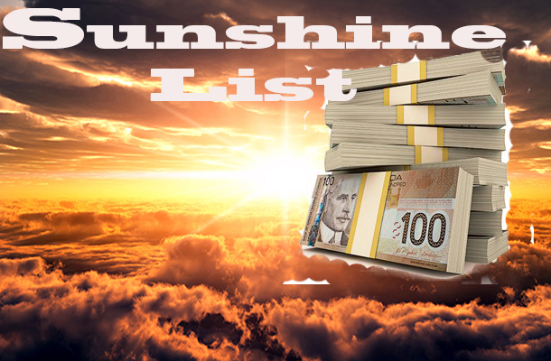 The Sunshine List is the top paid government salaries in Ontario.