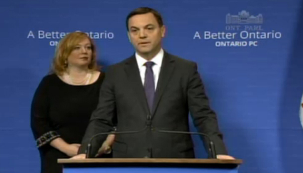 "Speaking in Queen's Park at a Press Conference Tim Hudak says this is ""Kathleen Wynne's scandal""."
