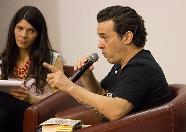 Race relations discussion with Nadia Verrilli and Joseph Boyden at Lakehead University