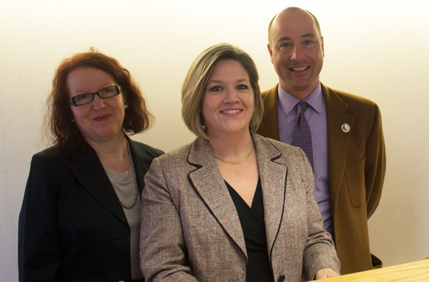 Andrea Horwath flanked by Mary Kozorys and Andrew Foulds talks about the Ontario Budget