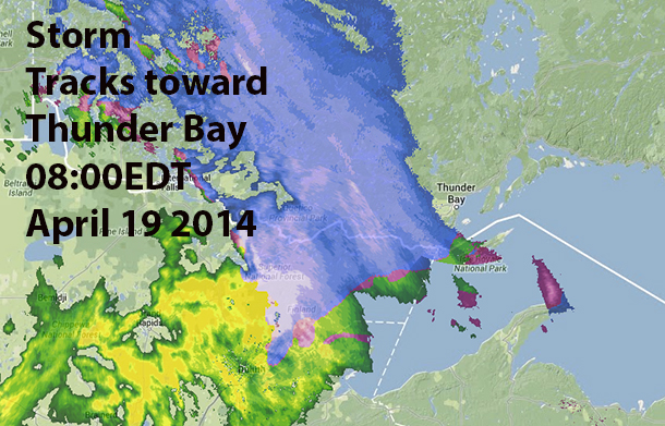 Weather System tracking toward Thunder Bay at 08:00EDT April 19 2014