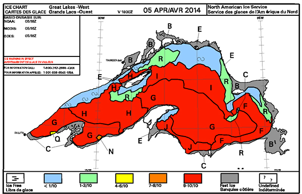 Ice Coverage on Lake Superior as of April 5 2014