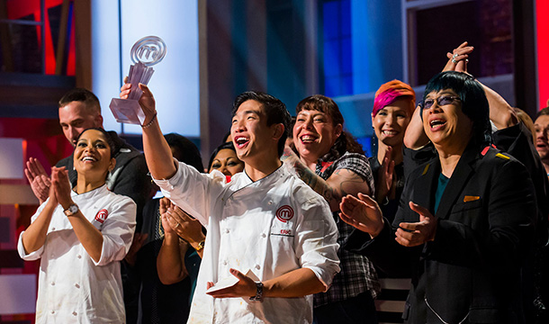 Eric Chong of Oakville, Ont. is the first-ever winner of MASTERCHEF CANADA, with runner up Marida Mohammed (far left) and judge Alvin Leung (far right).