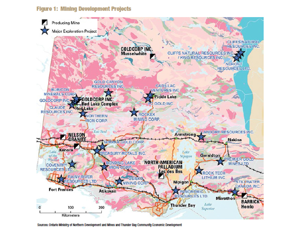 Mining Projects projected across Northern Ontario - NSWPB Graphic
