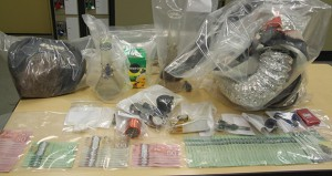 RCMP image of the drugs and money seized in a raid in Fort McMurray
