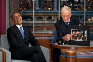 US President Obama has been one of many major guests David Letterman has interviewed.