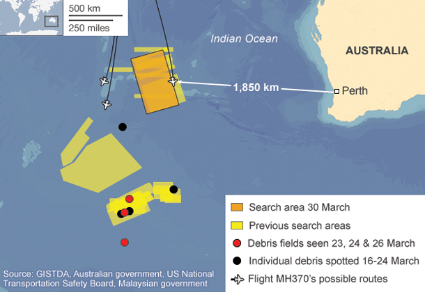 Search area for Malaysia Airlines MH370 - Since March 8 there has been no sign of the Boeing 777
