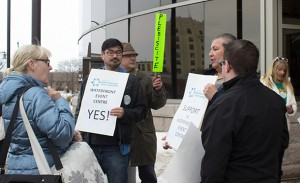 "A polite ""Canadian Rally"" with both sides out to share their views was held outside city hall."