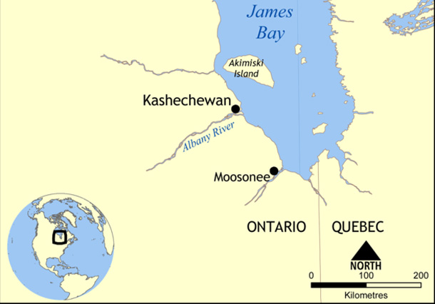 Kashechewan Ontario - A Cree community on the James Bay coast of Ontario.