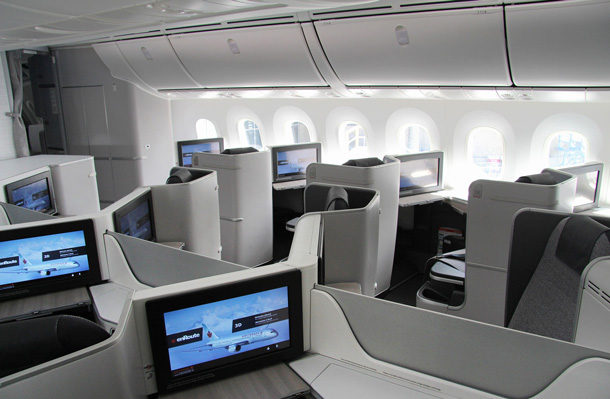 Air Canada's new International Business Class cabin on the 787 Dreamliner