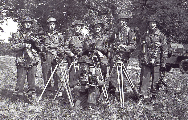 Army cameramen assigned to capture the first wave of the D-Day invasion. (Library and Archives Canada PA#206120)