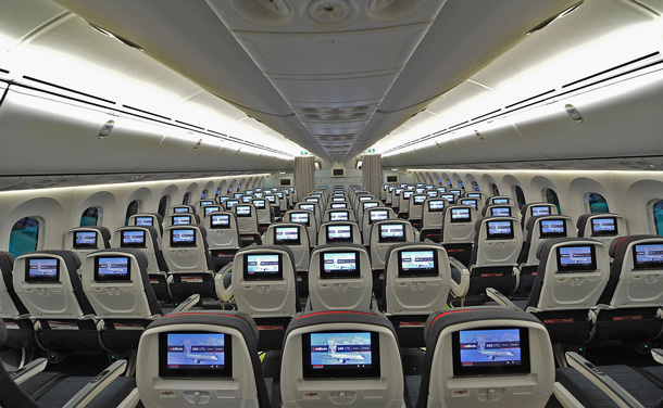 Economy cabin aboard the Air Canada Dreamliner